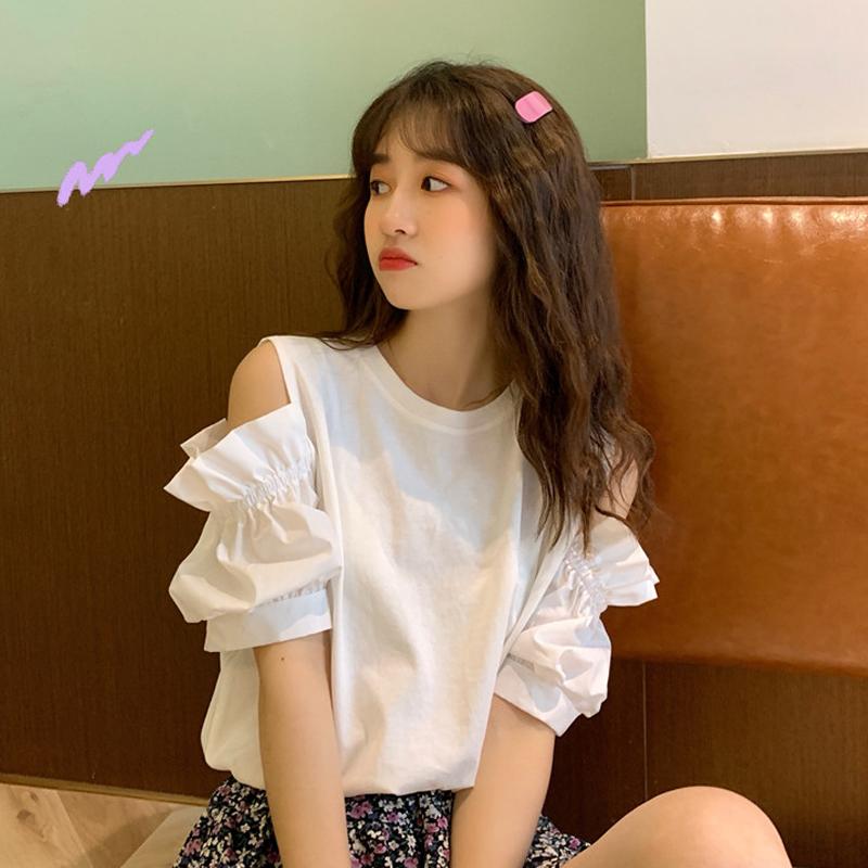 洋气泡泡袖时尚露肩上衣2020年新款夏季宽松漏肩白色短袖T恤女潮图片