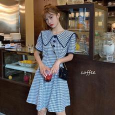 夏季2020年新款韩版网红格子娃娃领高腰显瘦A字裙连衣裙女短裙潮