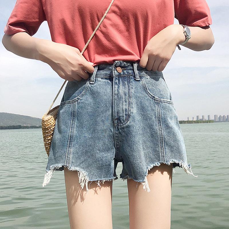 夏季女装2018新款韩版百搭复古阔腿裤热裤高腰显瘦牛仔裤短裤学生