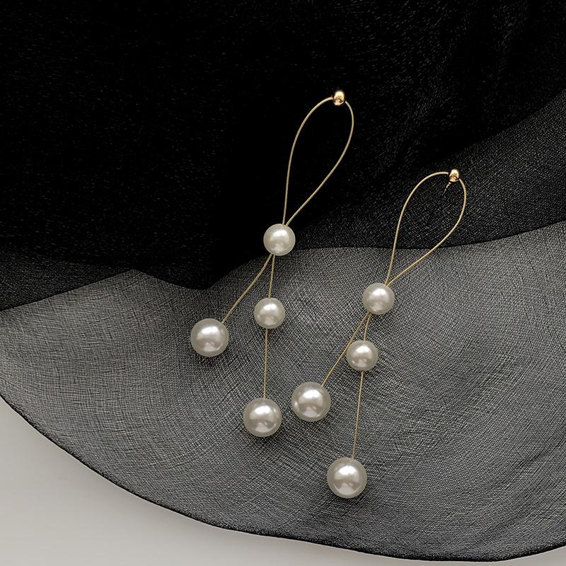 限50000张券925银针长款珍珠线条感耳坠时尚气质简约温柔法式优雅耳环女显瘦