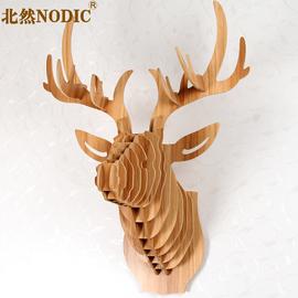 鹿头壁挂北欧客厅玄关招财壁饰实木麋鹿动物挂件创意墙面上装饰品