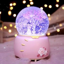 梦幻樱花汉服女孩公主水晶球飘雪旋转音乐盒八音盒儿童女生日礼物