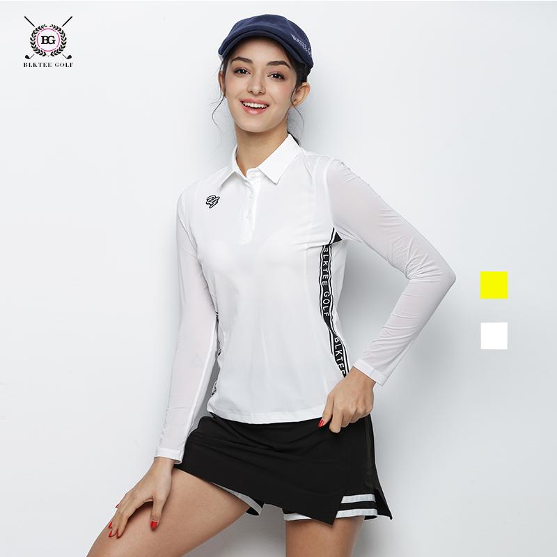 BG新款高尔夫服装女士长袖T恤外套印花冰丝夏季防晒衣女士速干