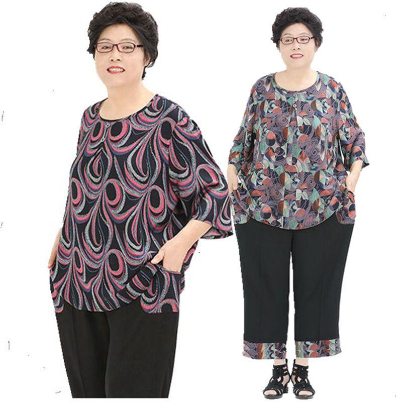 特大号200斤胖妈妈装夏装加肥加大码女装中老年人女装短袖奶奶装