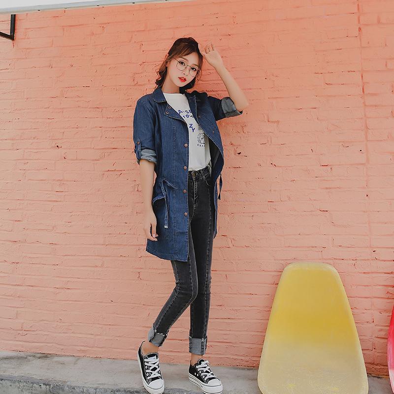 2018港风新款上衣长袖纯棉牛仔衬衫外套中长款束腰宽松显瘦女衬衣