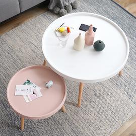 左下北欧ins圆形茶几组合现代简约实木多功能创意客厅飘窗小户型图片