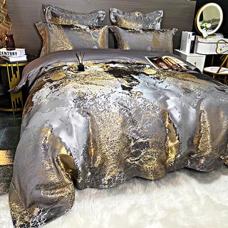高档轻奢纯棉床上用品六件套欧式奢华贡缎提花全棉四件套高端被套