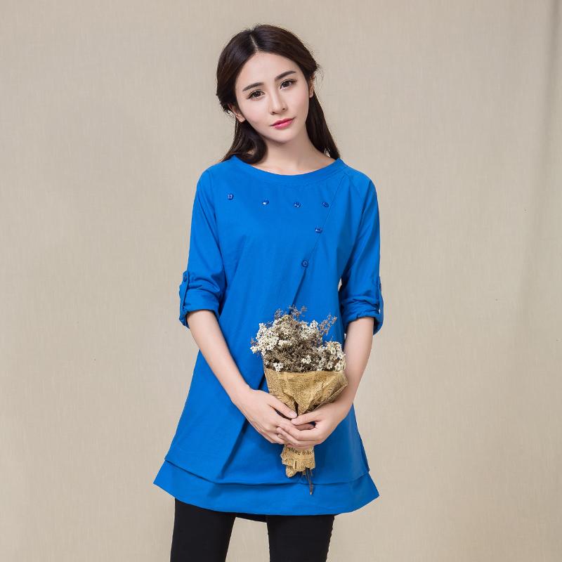实拍 时尚大码女装韩版休闲文艺棉麻长袖显瘦连衣裙
