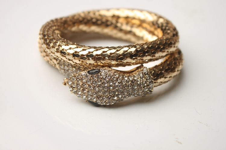 Korean style nightclub versatile temperament multi-layer full diamond snake shaped wide Bracelet exaggerated female Korean fashion accessories