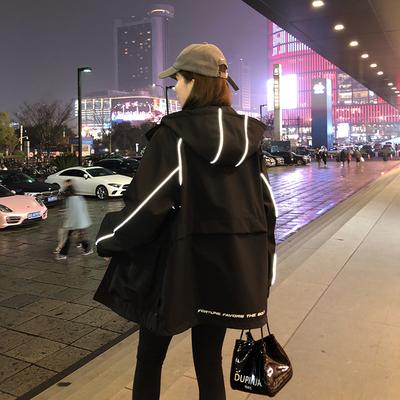 反光冲锋衣女外套春秋2021年新款宽松炸街上衣休闲连帽工装夹克潮
