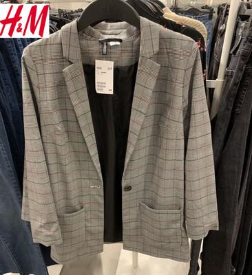 HM國內專柜正品代購女裝1月新款韓版直筒格紋西服風衣外套0709692