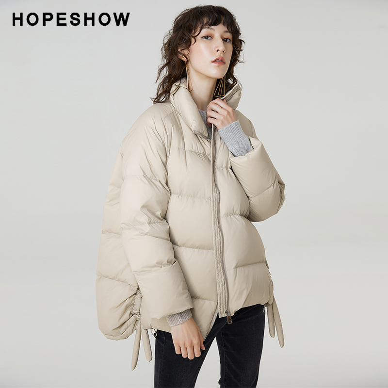 Red sleeve shopping mall same hopeshow down jacket women's 2019 winter new white stand collar short down jacket