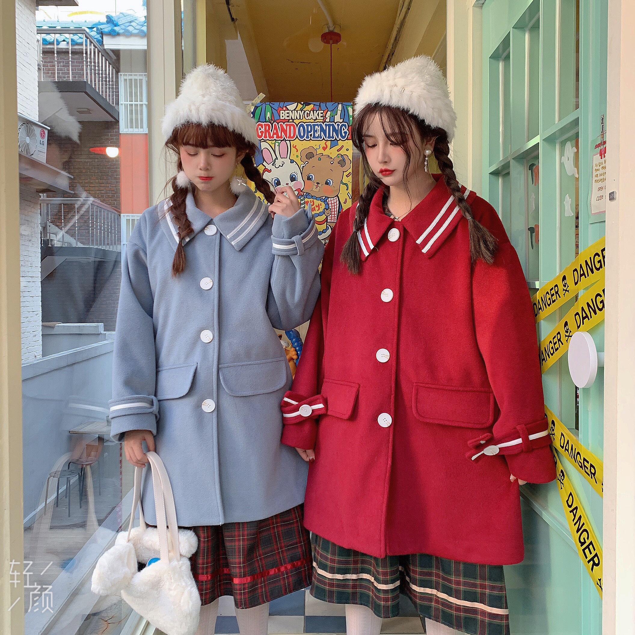【森女想去海边】秋冬原创 冬日小海军毛呢大衣学院风少女保暖