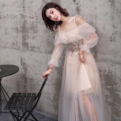抖音伴娘服2019新款秋季仙气质中长款姐妹团晚礼服日常可穿连衣裙