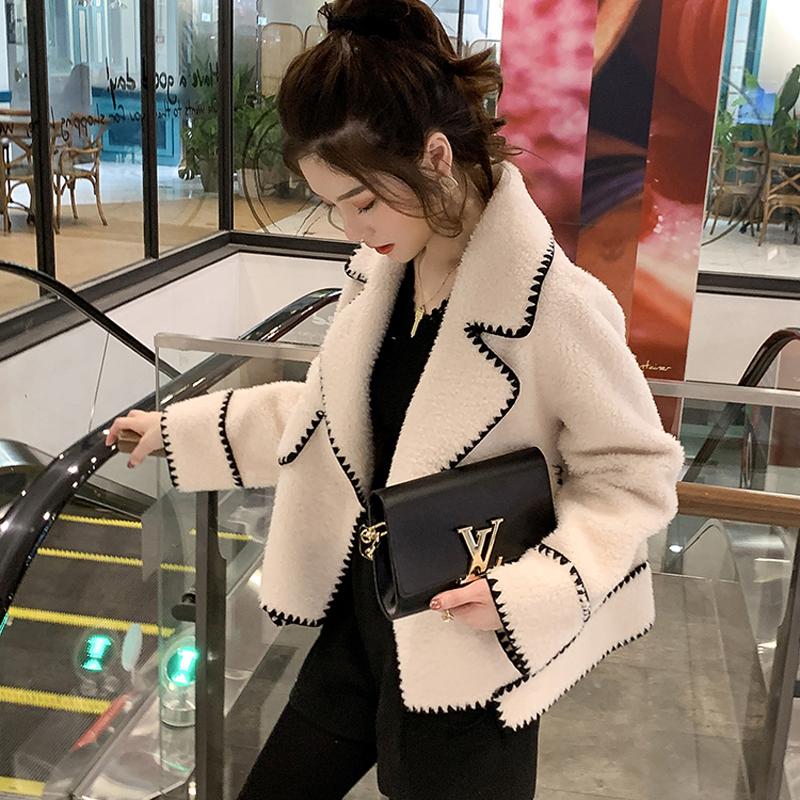 European station lamb wool suit collar coat womens autumn and winter short plush small fragrance lazy wind fleece cardigan jacket