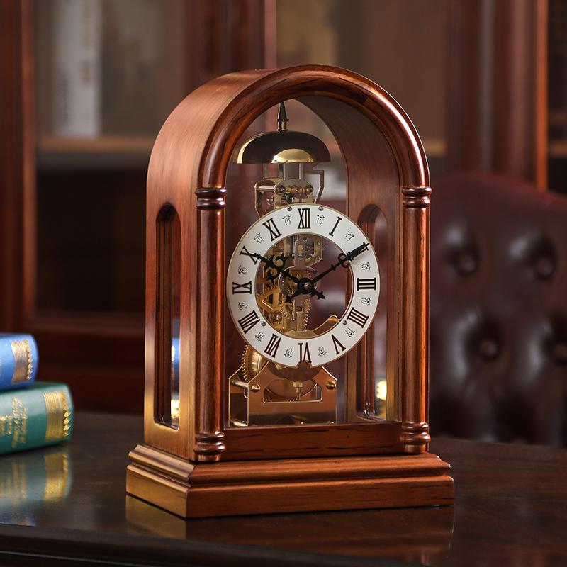 美式复古机械座钟客厅实木台钟家用时钟钟表摆件老式台式摆钟坐钟 Изображение 1