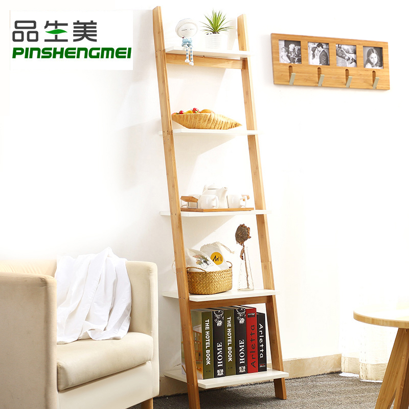 品生美 书架客厅梯形置物架实木靠墙卧室花架北欧落地墙角储物架