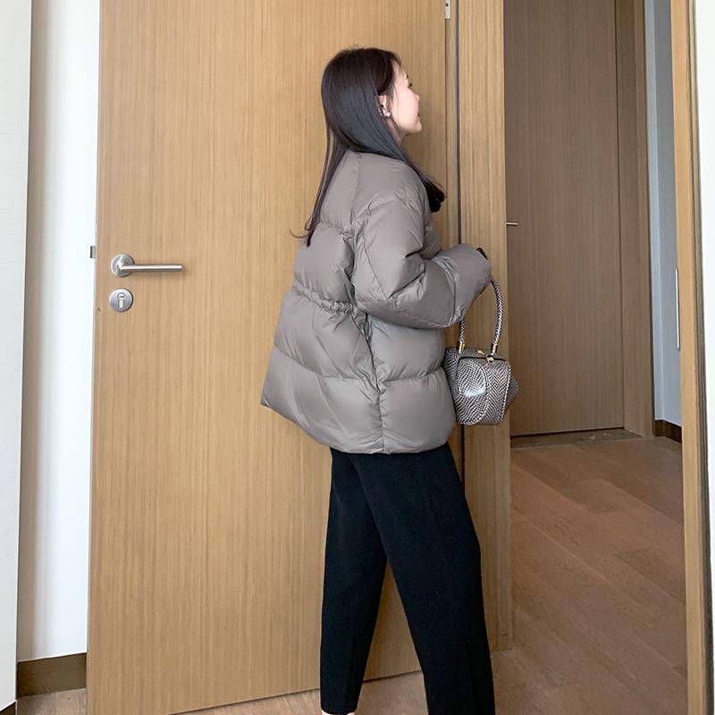 2020新款女装冬季宽松短款羽绒服女灰色显瘦小个子白鸭绒外套加厚