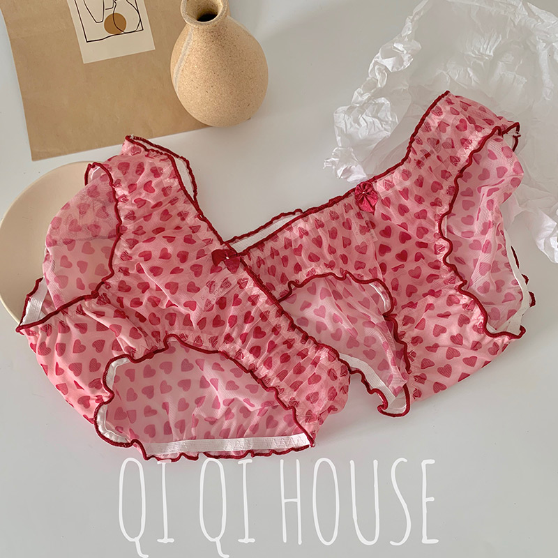 [Qiqi] South Korean ins net red love curling mesh, breathable, sweet and lovely middle and low waisted underpants girl