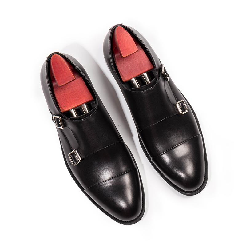 Goodyear handmade buckle monk shoes brown