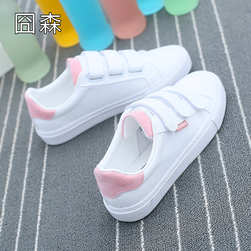 Velcro small white shoes womens 2018 new versatile Korean student flat canvas shoes chic Korean style shoes