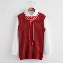 日系学院风JK制服背心红色 V领毛衣针织衫女学生马甲毛衣纯色套装