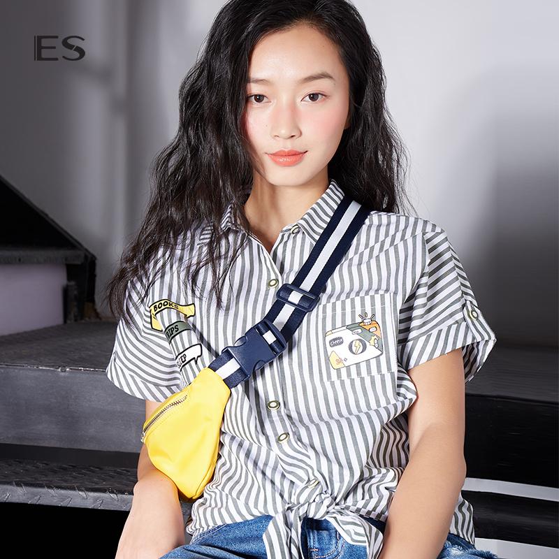 艾格ES2018夏季女短款条纹卡通印花短袖绑带衬衫8E031408734