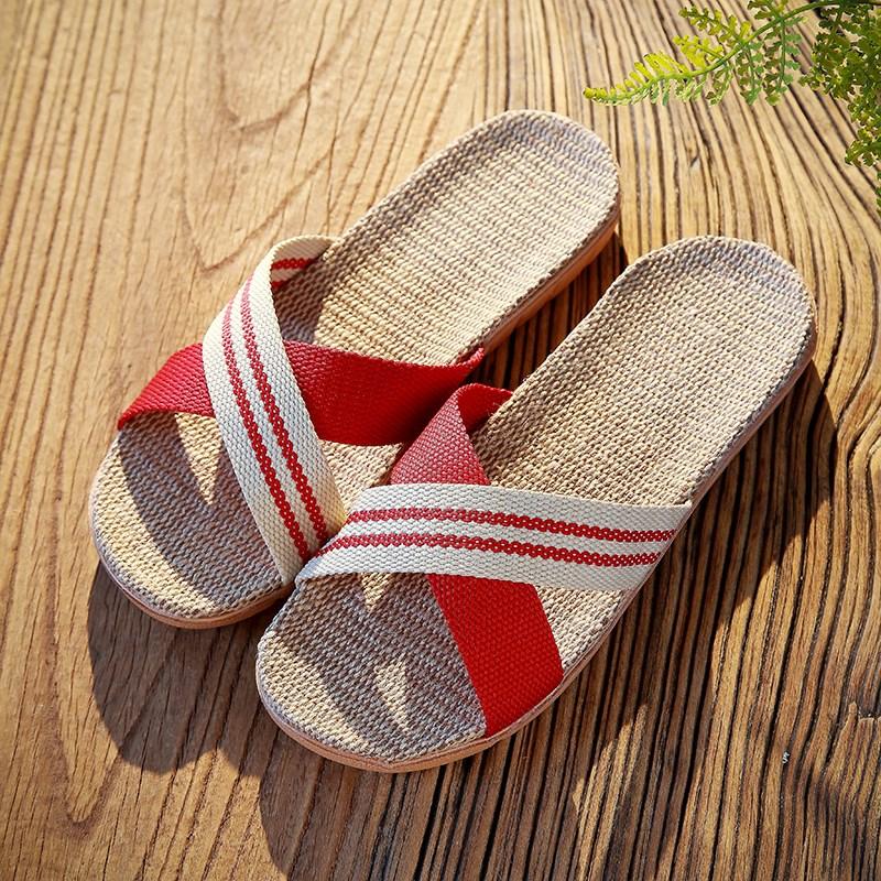 脚爱妮亚麻拖鞋男女夏季情侣居家室内家居厚底防滑地板凉拖鞋夏天