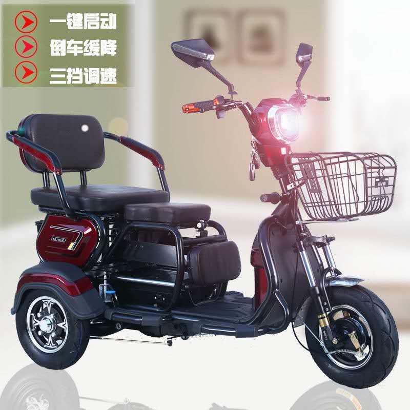 电动三轮车单双多人男款休闲代步客货两用接送孩子小型女士电瓶车