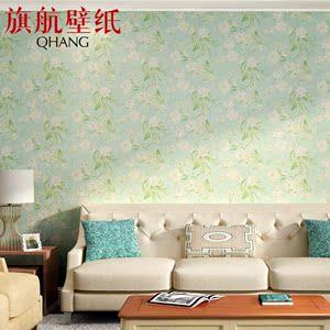 旗航壁纸 环保无纺壁纸 田园风格卧室客厅满铺电视背景墙青丝