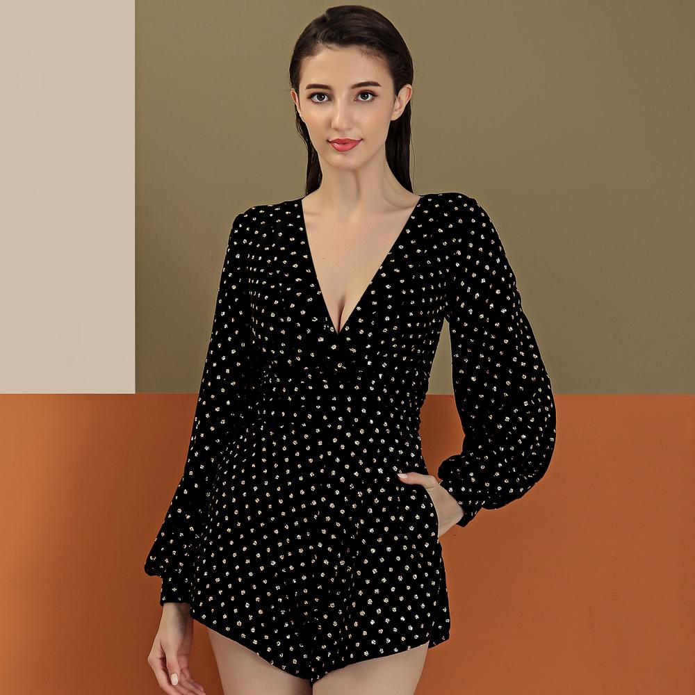 Caijia spring and summer new fashion velvet lantern long sleeve V-neck Jumpsuit one piece shorts nightclub party celebrity