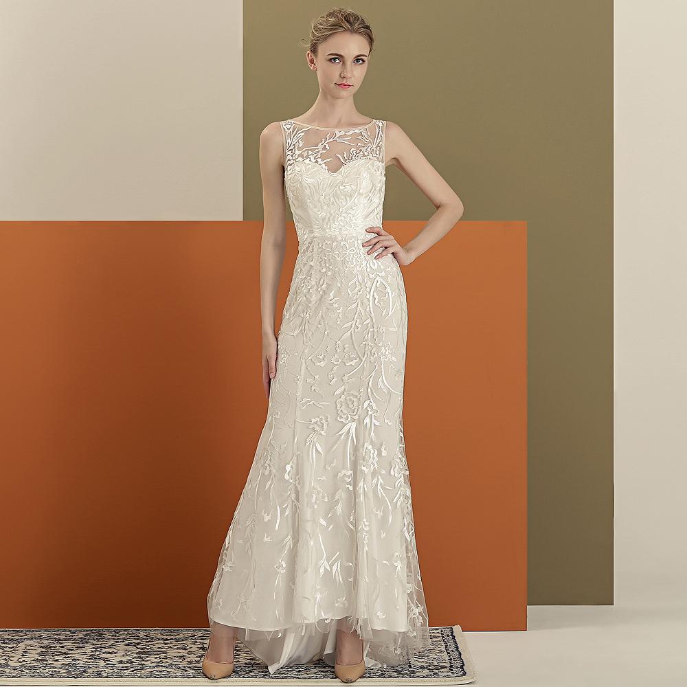 采佳白色轻婚纱包臀小鱼尾修身优雅礼服新娘沙滩写真情侣礼服