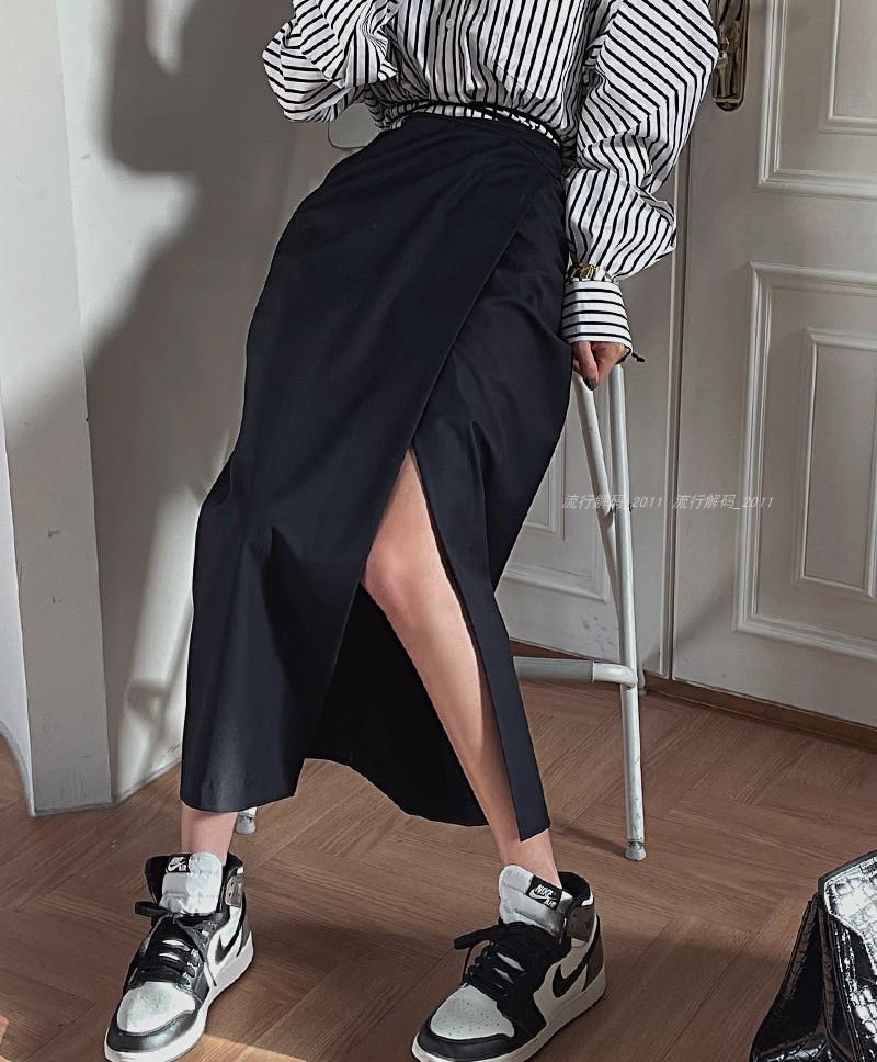 韩国2021春夏新款网红气质高腰系带包臀中长裙开叉显瘦半身裙女潮
