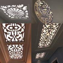 顶雕镂空吊顶板pvc新中式透明屏风板厨房及木雕店