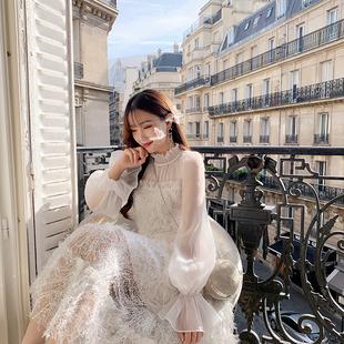 杨小卷法式优雅超仙气质白色长裙