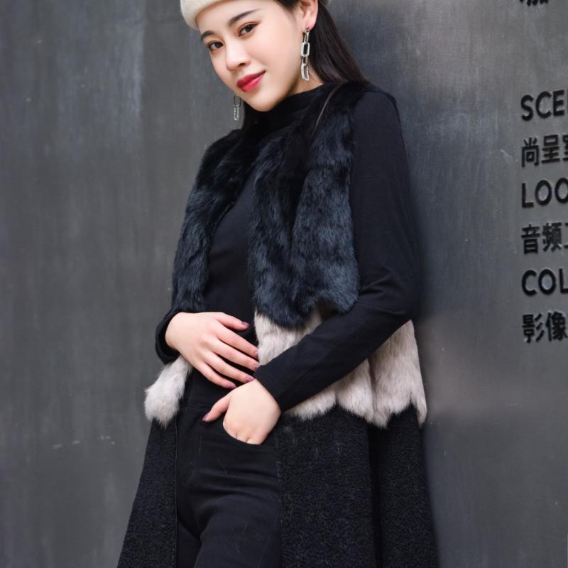 傲丽佩娜2019冬季新款时尚绒面兔毛拼接暗扣中长皮衣女士外套