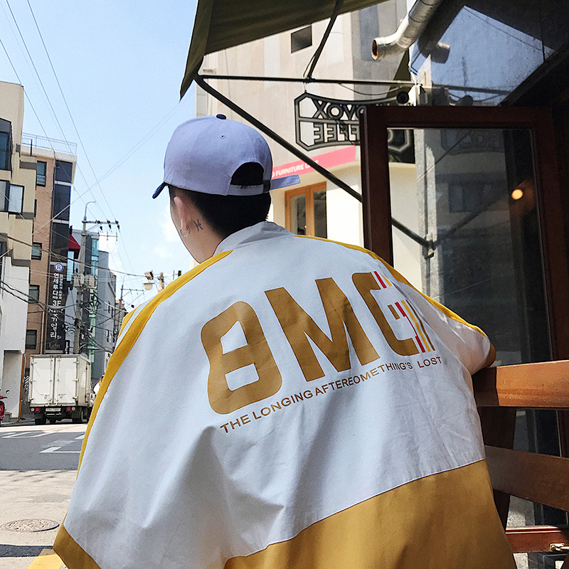 Autumn new ins personalized color matching letter printed jacket Korean student loose sports jacket trend boys