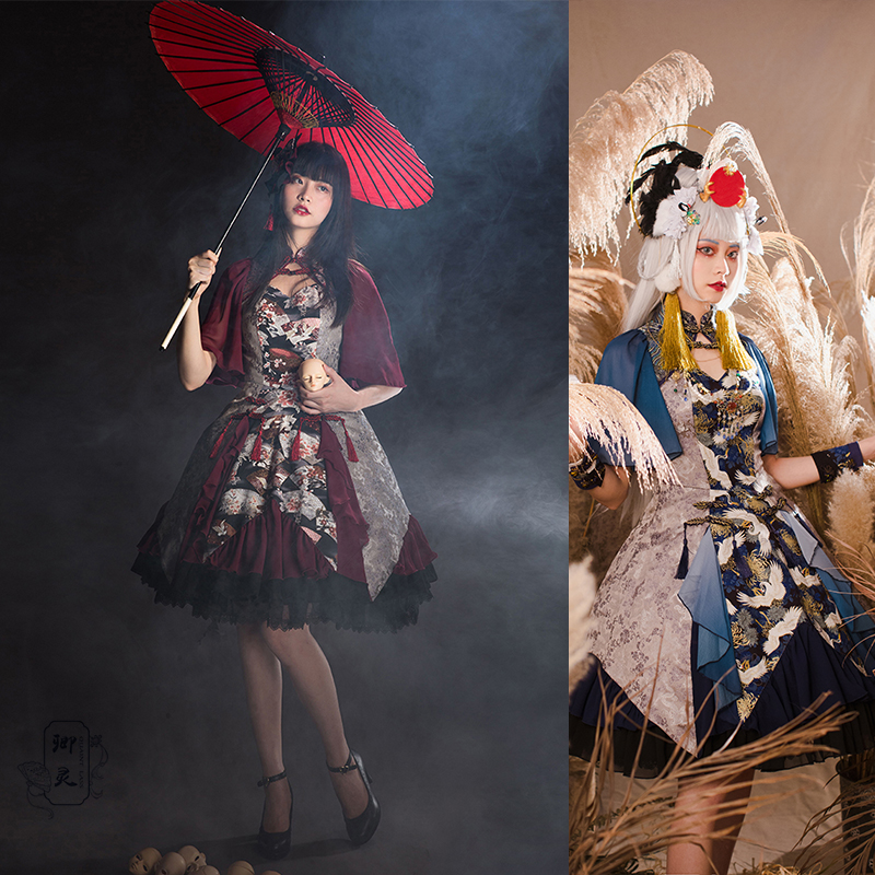 QL Qingling Lolita [Hezhe] original design of Chinese style and national style middle sleeve Lolita Dress