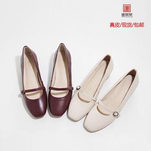 春季韩版粗跟小皮鞋中高跟浅口单鞋学生百搭女鞋复古玛丽珍鞋子女