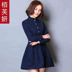 【高档女装】8056 新款波点连衣裙立领中裙纯棉韩版修身大码套头A字裙