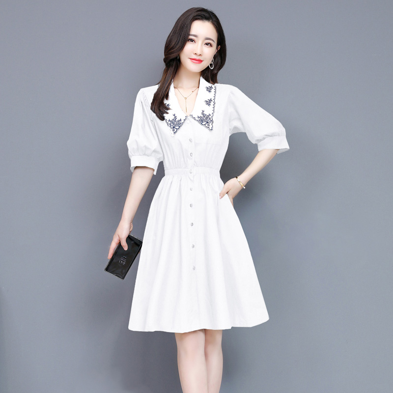 Temperament embroidery baby collar 5 / 6 sleeve dress single breasted elastic waist dress black / white kn0223