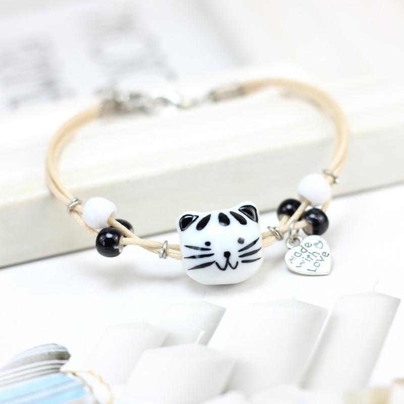 景德镇手工陶瓷手链简约清新森系情侣猫咪美元代付生日礼物情人节