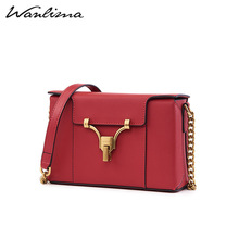 Wanlima Women's Bag New Box for Autumn 2019 Small Square Bag with Leather Lock, Light Luxury Chain and Sloping Single Shoulder Bag