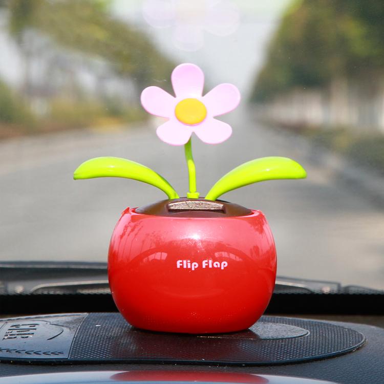 车载太阳能自动摇摆太阳花摇头公仔苹果花车内装饰品汽车摆件