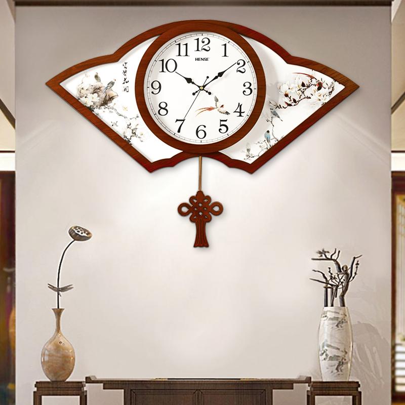 汉时创意中式挂钟中国风挂表客厅木质摆钟静音时钟家用挂表HP05