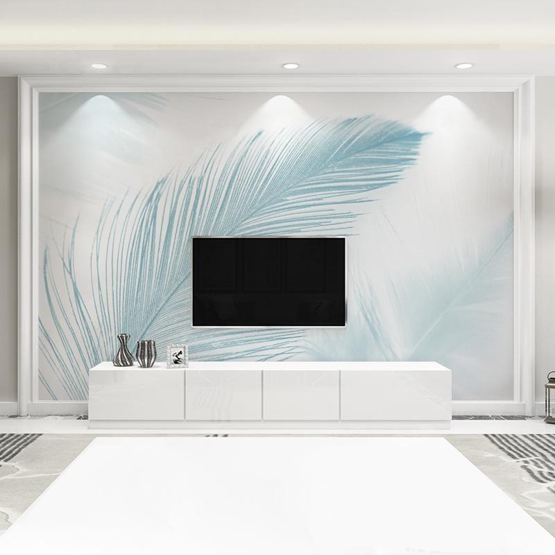 马蒂斯现代简约客厅电视背景墙壁画纸时尚羽毛北欧墙纸卧室影视墙