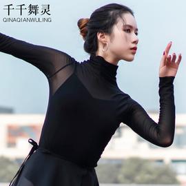 芭蕾舞蹈练功服成人形体服上衣女高领弹力古典舞身韵纱衣长袖网纱图片