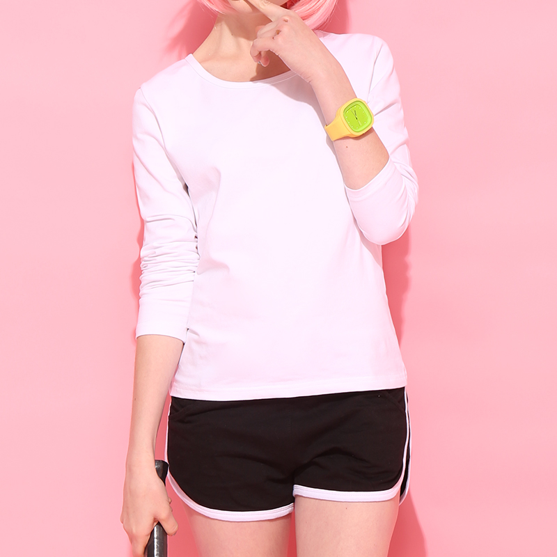 [live broadcast recommendation] 2021 spring solid color round neck long sleeve T-shirt 0613