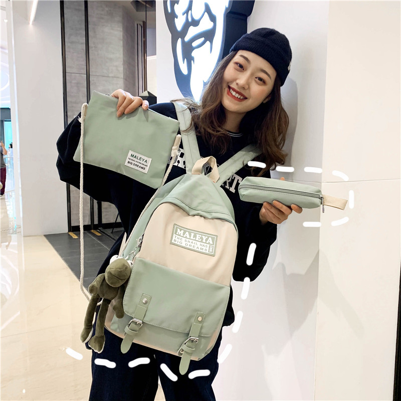 Old school girls schoolbag Korean version fashion high capacity high school and middle school students Campus ins wind super fire Backpack