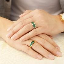 刻字钛钢镀真金宝石金镶玉指环送男友礼物复古男士玛瑙转运戒指